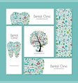 business cards design dental clinic vector image vector image