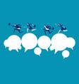 business team and partner running over speech vector image