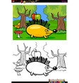 cartoon hedgehog character coloring book vector image