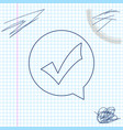 check mark in circle line sketch icon isolated on vector image vector image