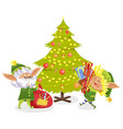christmas elf with present near fir-tree vector image vector image