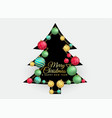 christmas tree with colorful balls decoration vector image