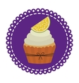 circular border with cupcake with cream and lemon vector image vector image