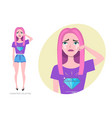 crying girl teenager in fashionable clothes ultra vector image