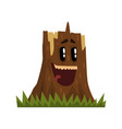 cute laughing tree stump character with funny face vector image vector image