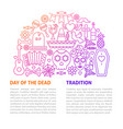 day of the dead line template vector image vector image