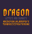 dragon letters and numbers with currency signs vector image vector image