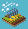 farm work isometric composition vector image