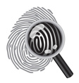 finger print with magnifying glass vector image vector image