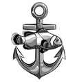 fish twisted to an anchor a boat vector image vector image