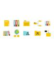 folder icon set flat style vector image vector image