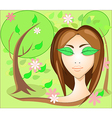 Girl with leaves eyes in the garden vector image vector image