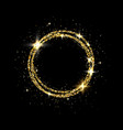 glitter gold circle frame with space for text vector image