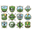 golf sport icons golfer and sporting items vector image vector image