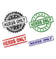 grunge textured nerds only seal stamps vector image vector image