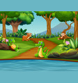 happy different animal enjoying by the river vector image vector image