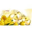 happy easter card with golden eggs and cute vector image