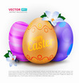 happy easter greeting card with three painted eggs vector image vector image