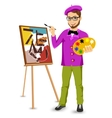 happy male painter artist with glasses vector image vector image