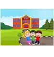 Happy school children in front of school vector image