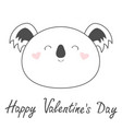 happy valentines day koala bear line icon cute vector image vector image