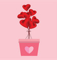 heart shaped balloons in the pink pots on pink vector image vector image