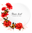 Holiday background with red flowers and butterfly vector image vector image