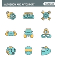 Icons line set premium quality of autoshow and vector image vector image