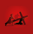 jesus falls for first time vector image vector image
