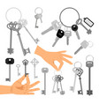 keys with hands isolated icons set vector image vector image