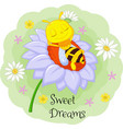 little bee sleeping on big flower vector image vector image