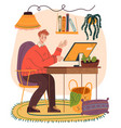 man freelance worker sitting home at computer vector image
