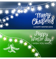 merry christmas and happy winter days postcards vector image vector image