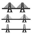 modern cable suspension bridge black symbol vector image vector image