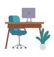office furniture table chair monitor or vector image vector image