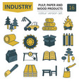 pulp paper and wood products icon set thin line vector image vector image