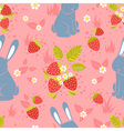 Rabbits and wild strawberries seamless pattern vector image vector image