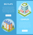 real estate complex with big flats flyers vector image