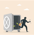 robber thief steals money from an open safe vector image