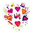 round pattern with hand drawn for valentines day vector image