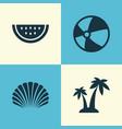 season icons set collection of bead conch melon vector image vector image