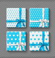 set of 3d gift boxes with realistic bow in white vector image