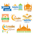 set of ramadan icons vector image
