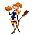 sexy witch in stockings with a pumpkin vector image vector image