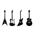 silhouettes of acoustic guitar and electric vector image vector image