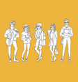 sketch young teen students set vector image vector image