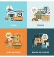 Storehouse 4 flat icons square composition vector image vector image