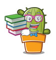 student with book cute cactus character cartoon vector image