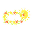 sunrise morning with flower rectangle wreath vector image