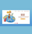 tourist web page traveling people traveler woman vector image vector image